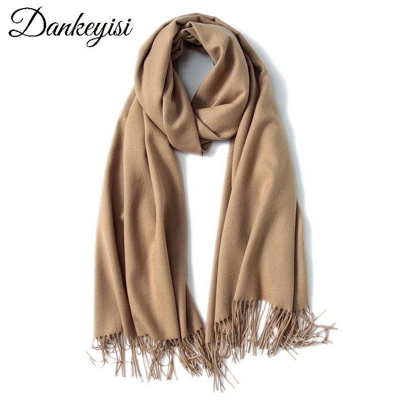 DANKEYISI Luxury Brand Oversize Winter <font><b>Scarves</b></font> Women Warm Blanket Unisex Solid Color Wrap Cashmere <font><b>Scarf</b></font> Shawl Pashmina Female
