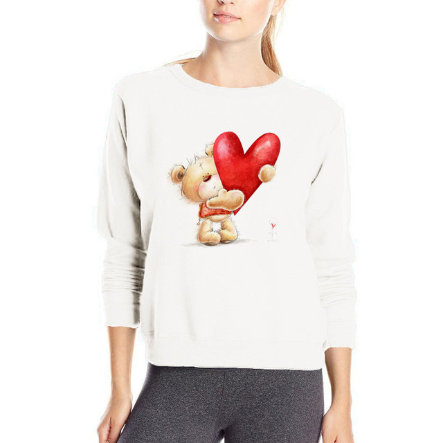 Casual Bear with Heart Printed Women's Sweatshirt
