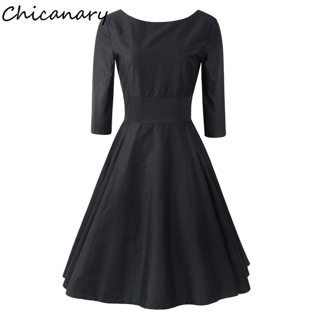 Chicanary 34 Sleeve 1950s Vintage Little Black Dresses With Audrey