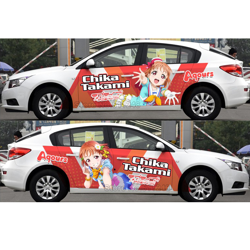 Car Styling Door Stickers Japanese Anime Chika Takami Vinyl Sticker Decals Auto Body Racing Decal ACGN Aqours Car Film Paint car styling uchiha sasuke naruto door stickers japanese anime vinyl sticker decals auto body racing decal acgn car film paint