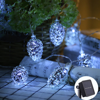 20Led Fairy Silver Pine Cone Outdoor Solar Power String Light 5m LED Decoration For Christmas Garland New Year gerlyanda 2018