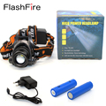 1800Lm headlamp CREE XM-L T6 Focus adjustable outdoor camping headlight head band lamp + 2 x 18650 battery + charger