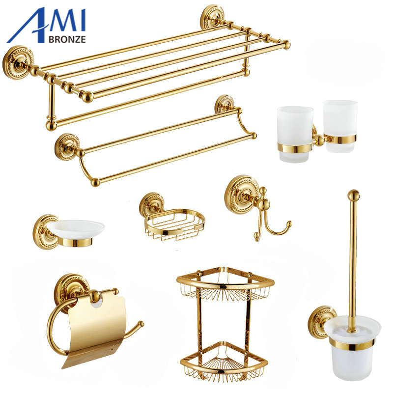 801G Series Gold Polished Copper Bathroom Accessories Towel Shelf Towel Bar Paper Holder Cloth Hook Soap Dish Cup Holder 81cp series chrome polished porcelain bathroom accessories bath hardware towel shelf towel bar paper holder cloth hook