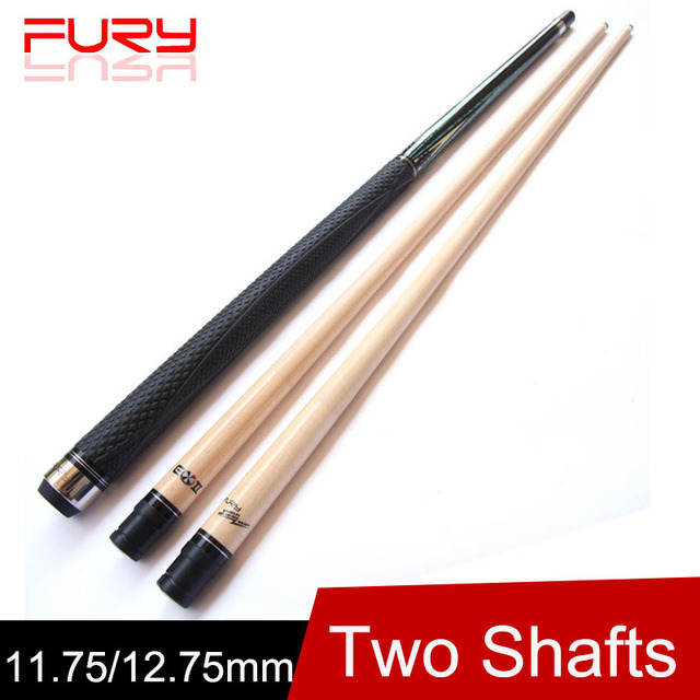 Cheap (Two Shafts) Fury Billiard Pool Cue 12.75mm/11.75mm Tips 1/2 Billiards Cue Stick One 10 Pieces Wood Technical Shaft