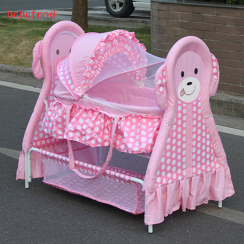 Baby cradle baby bed cradle bed baby bed newborn sleeping basket concentretor cartoon iron cabarets cloth bb crib promotion 6pcs baby bedding set cot crib bedding set baby bed baby cot sets include 4bumpers sheet pillow