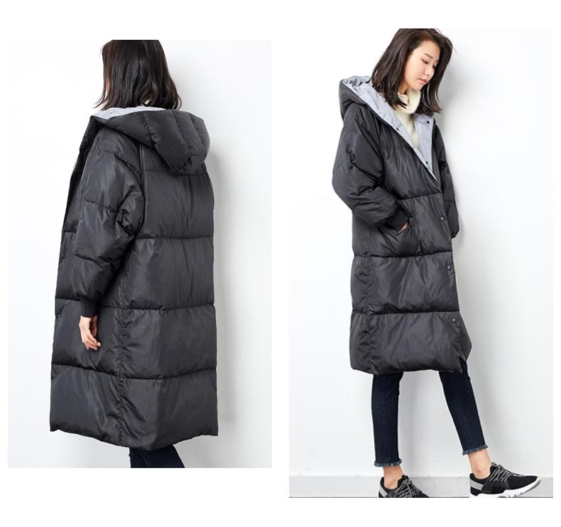 Manteau Capuchon Long D'hiver Noir Bas Manches Plus Taille Down La Veste À Lâche Le Femmes Vers gXTWnf