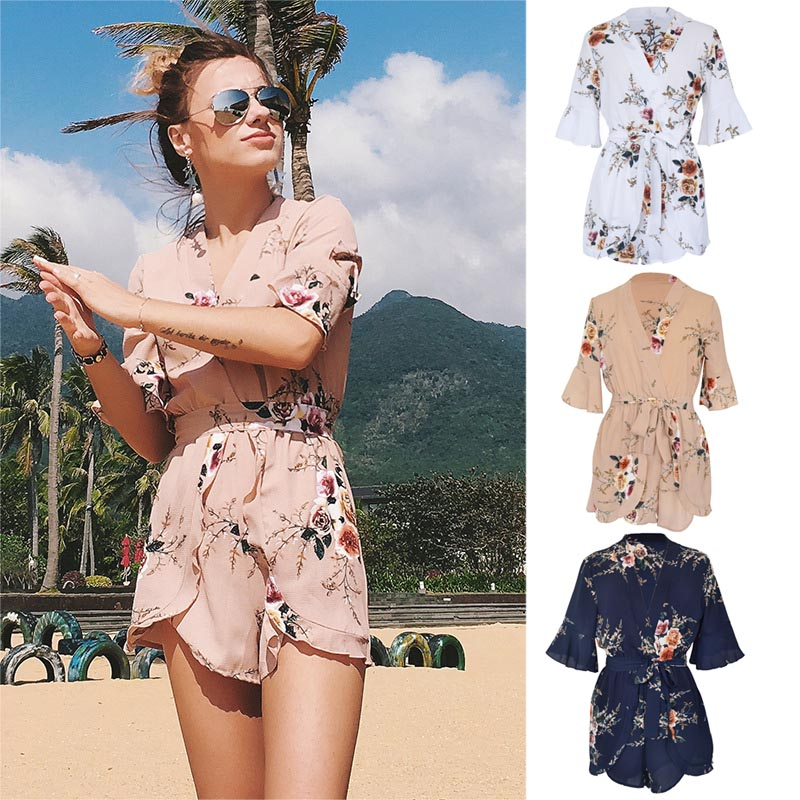 Summer Women Jumpsuit V Neck Floral Printed Ruffles Playsuits Lady Girl Beach Shorts Rompers H9