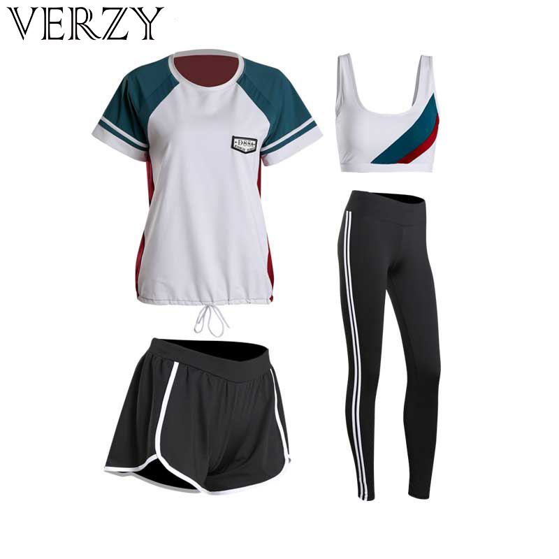Women Yoga Sets Four Pieces Sportswear Bra T Shirt Shorts Leggings Breathable Gym Sports Clothing M