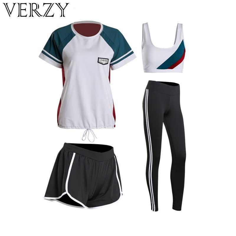 Women Yoga Sets Four Pieces Sportswear Bra+T Shirt+Shorts+Leggings Breathable Gym Sports Clothing M 2XL Running Suit