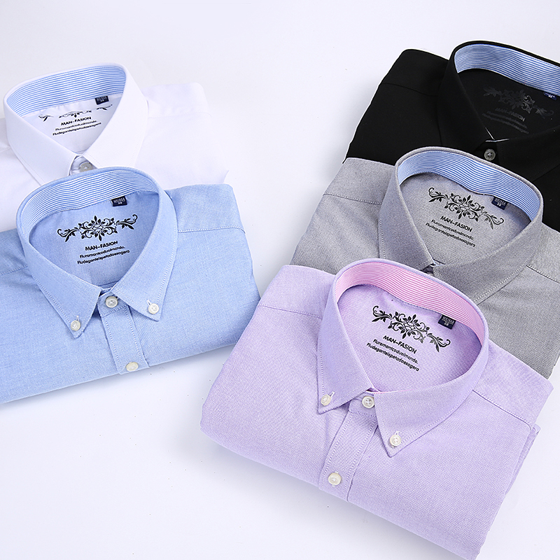 Short sleeve Men's Shirt Summer Button collar oxford fabric slim fit breath comfrotable  fashion business mens casual shirts 6
