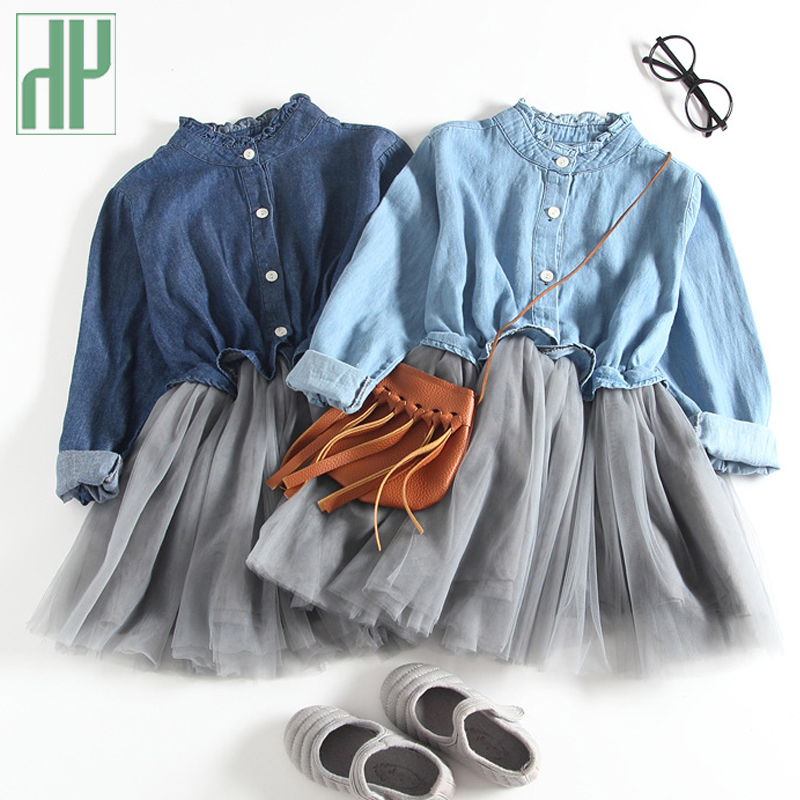 Children clothing lace Mesh Denim Dress Kids princess dress girls costumes Spring new year party dresses for girls Ball Gown цена