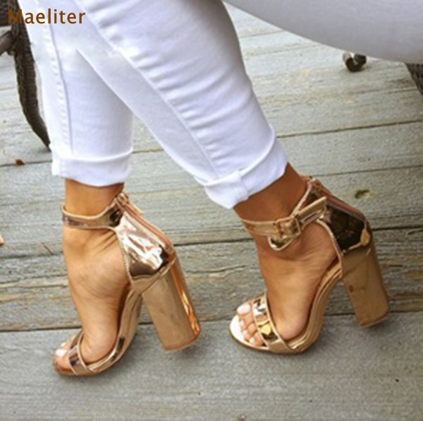 4446b336a34e7 Women Chic Champagne Patent Leather Sandals Square Thick High Heels Pumps  Covered Heel Single Strap Gladiator Shoes Golden Pumps