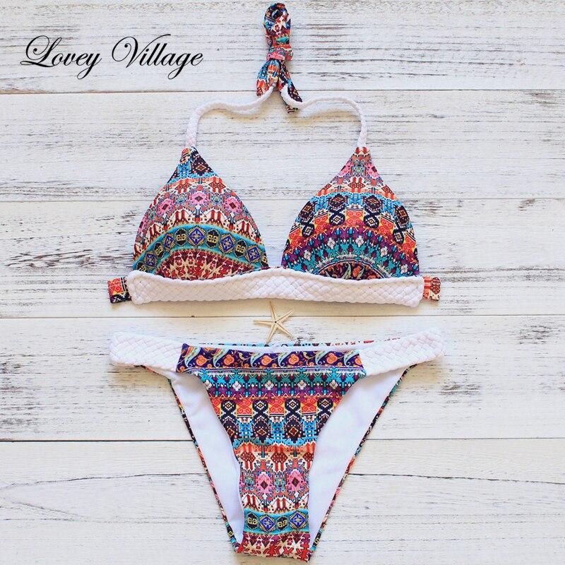 Lovey Village New Ethnic Frauen häkeln Bikini Set Bademode Badeanzug - Sportbekleidung und Accessoires