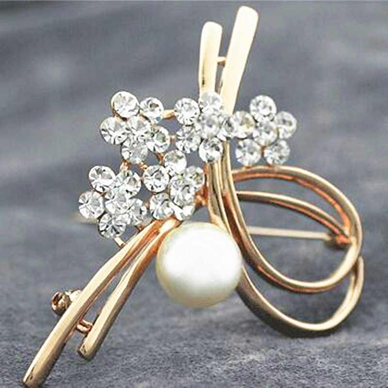 Fashion Perhiasan Sederhana Ukuran Dua Imitasi Mutiara Bros Pin untuk Wanita Anak Perempuan Temperamen Cardigan Sweater Syal Gesper Bros