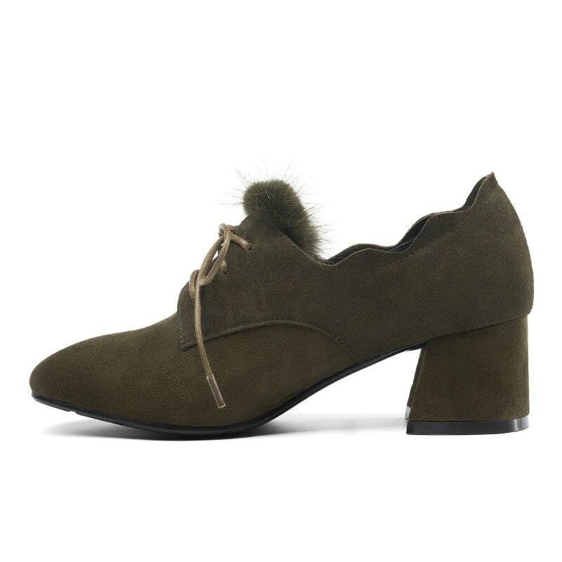 G338 Black Carré Avec À Chaussures khaki Style Femmes Lacets Lié Dames yellow Confortable Talon Univers Suede Casuals De Kid Pompes Fourrure Croix UqHpWnH
