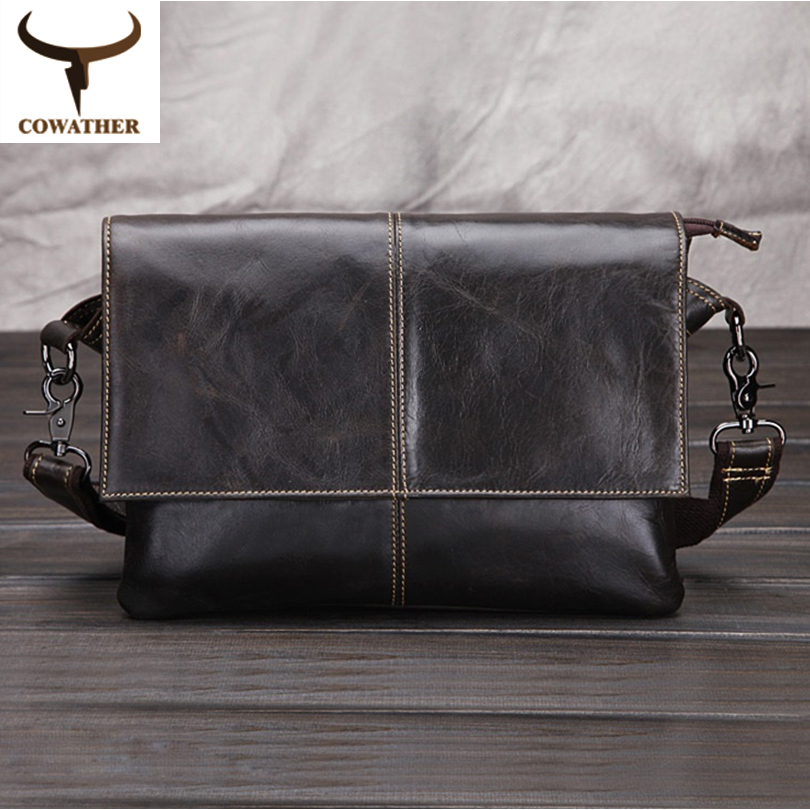 COWATHER Envelope package 2017 cow genuine font b leather b font messenger bags for men font