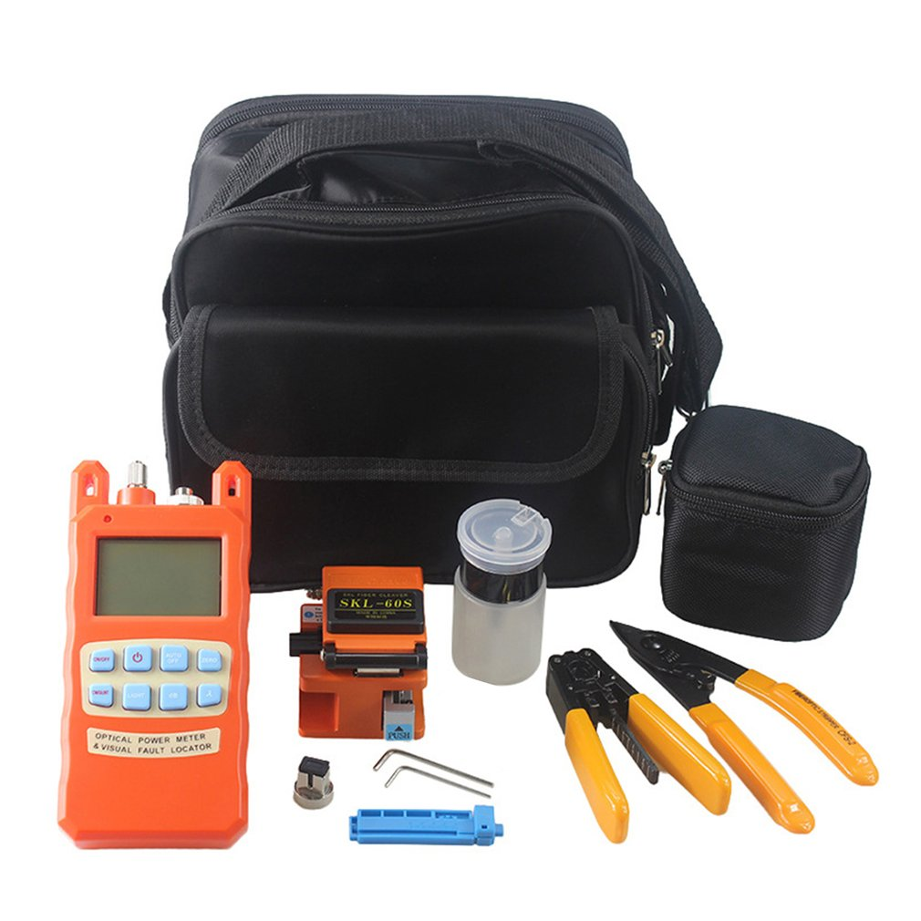 Fiber Optic FTTH Tool Kit Fiber Cleaver + Optical Power Meter Tester 1MW Visual Fault Locator + Fiber Stripper SKL-60S цена
