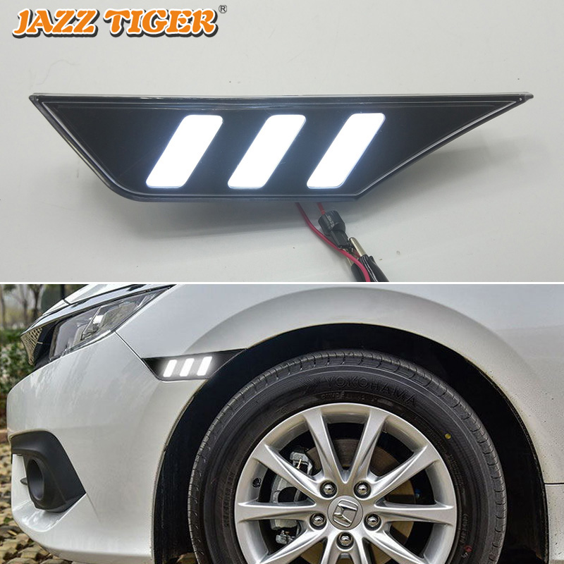 For Hyundai Civic 10th LED Side Fender Daytime Running Lights Daylight Fog Lamp Yellow Turning Signal Lamp