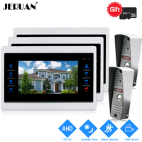 JERUAN 720P AHD HD Motion Detection 10 Inch LCD Video Door Phone Intercom System 3 Record