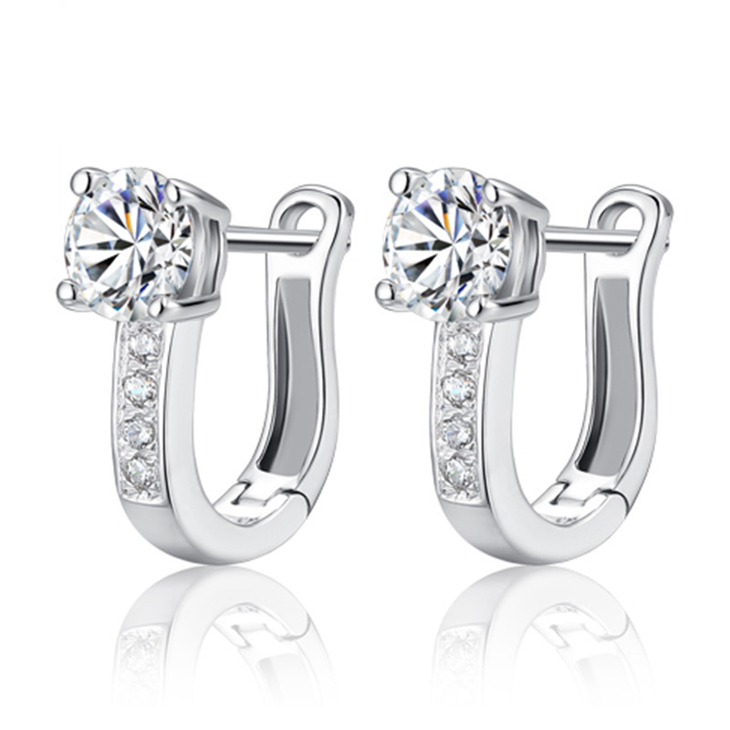 100% 925 Sterling Silver Fashion Shiny Crystal Ladies`stud Earrings Jewelry Women Anti Allergy Drop Shipping Birthday Gift