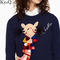 2018 Sweet Girl Runway Blue Knitted Sweater Pullover Women Streetwear Alpaca Appliques Tassel Long Sleeve Female Jumper Clothing