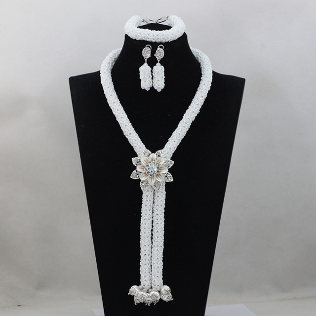 Pure White Crystal Costume Necklace Set New Rhinestone Flower Brooch African Inspired Jewelry Set Hot Free Shipping WD715
