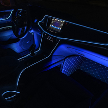 Blue 2M 12V Universal LED Car Auto Interior Decorative Atmosphere Wire Strip Lamp itimo 4 in 1 blue car atmosphere lamp interior light source universal auto accessories led strip lights car styling 12 led
