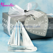 10Piece/Lot Crystal Sailboat Favor With Gift Box