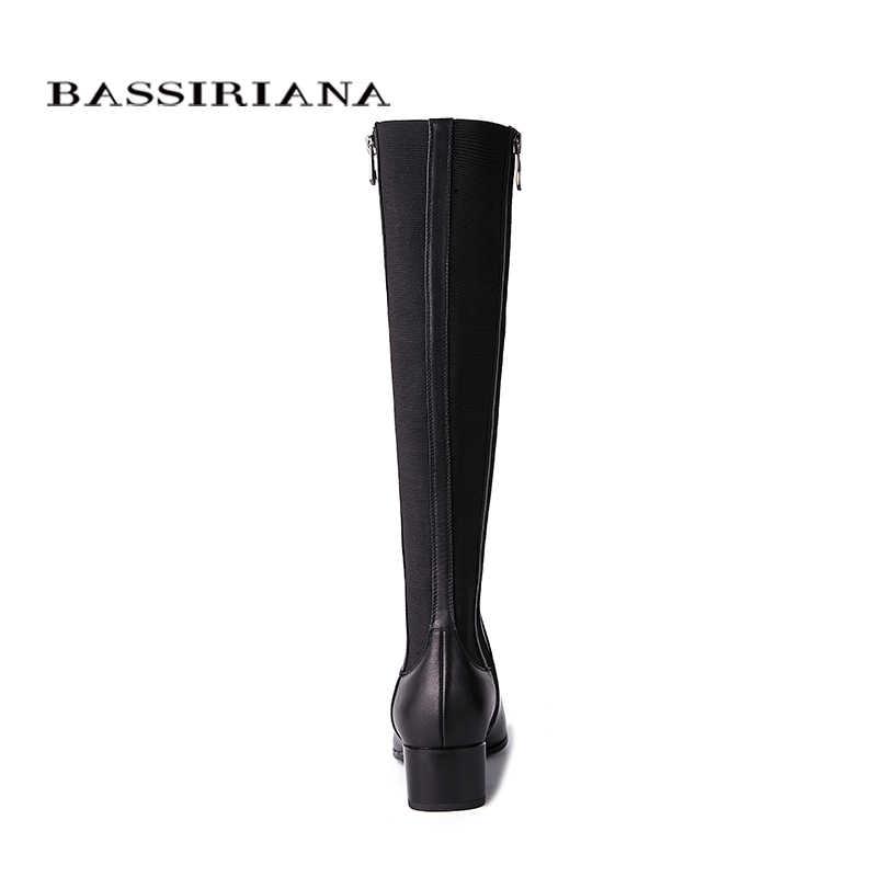BASSIRIANA yeni 2018 hakiki Deri yüksek çizmeler Soba Borusu streç ince bacak Ayakkabı kadın Bahar 35-40 Siyah Ücretsiz kargo