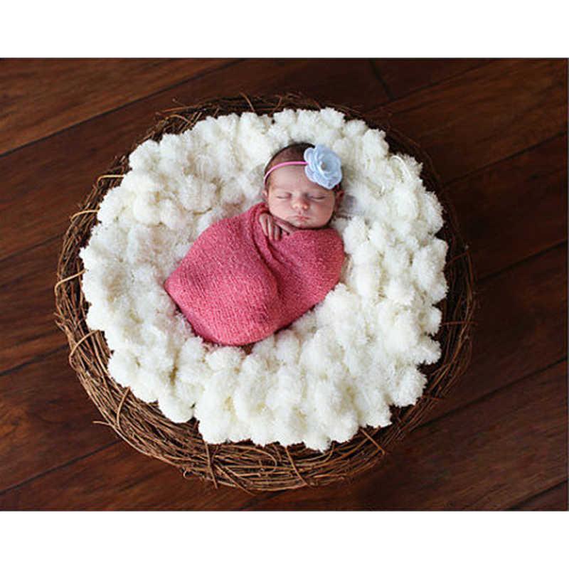Одеяло с помпонами для детской фотосъемки попкорн одеяло s фон текстурированный коврик помпон корзина наполнитель новорожденный фото реквизит 80*60 см