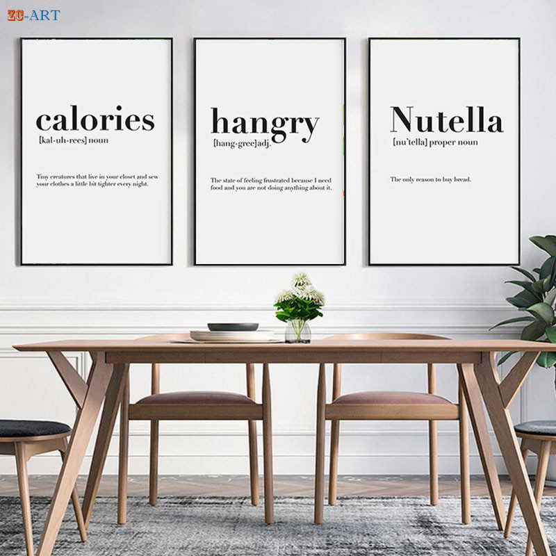 Canvas Painting Minimalist Black And White Quotes Poster Art Print Nordic Kitchen Wall Art Pictures Home Decor