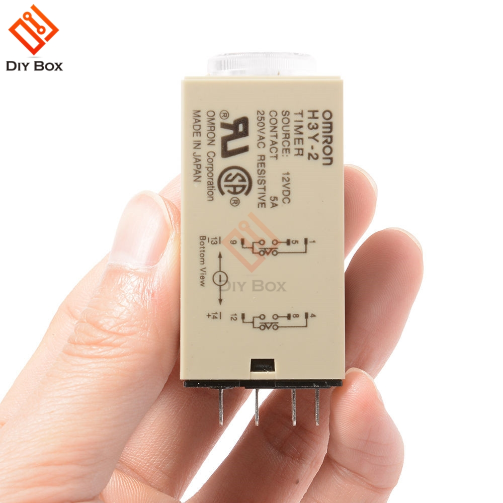 12VDC 60 Minutes H3Y-2 Power On Time Delay Relay Solid-State Timer DPDT No Base