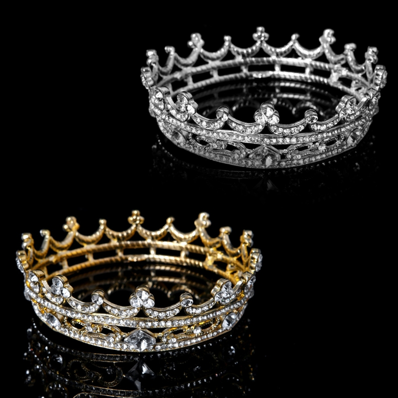 Pageant Full Round Tiara Bridal Crown Wedding Rhinestone Headpiece Hair Jewelry Classic