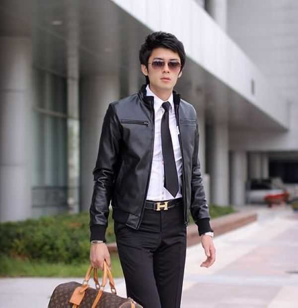 Fashion Collar Men S Casual Leather Black Leather Jacket