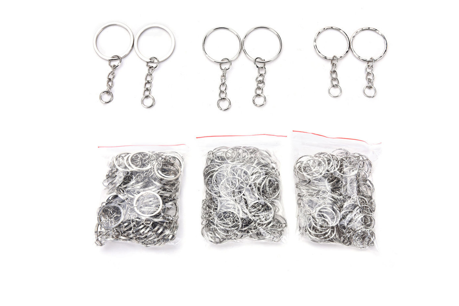 100 Pcs/Set Silvery Key Chains Stainless Alloy Circle DIY 25mm Keyrings Jewelry Keychain Key Ring Jewelry Keychain Key Ring