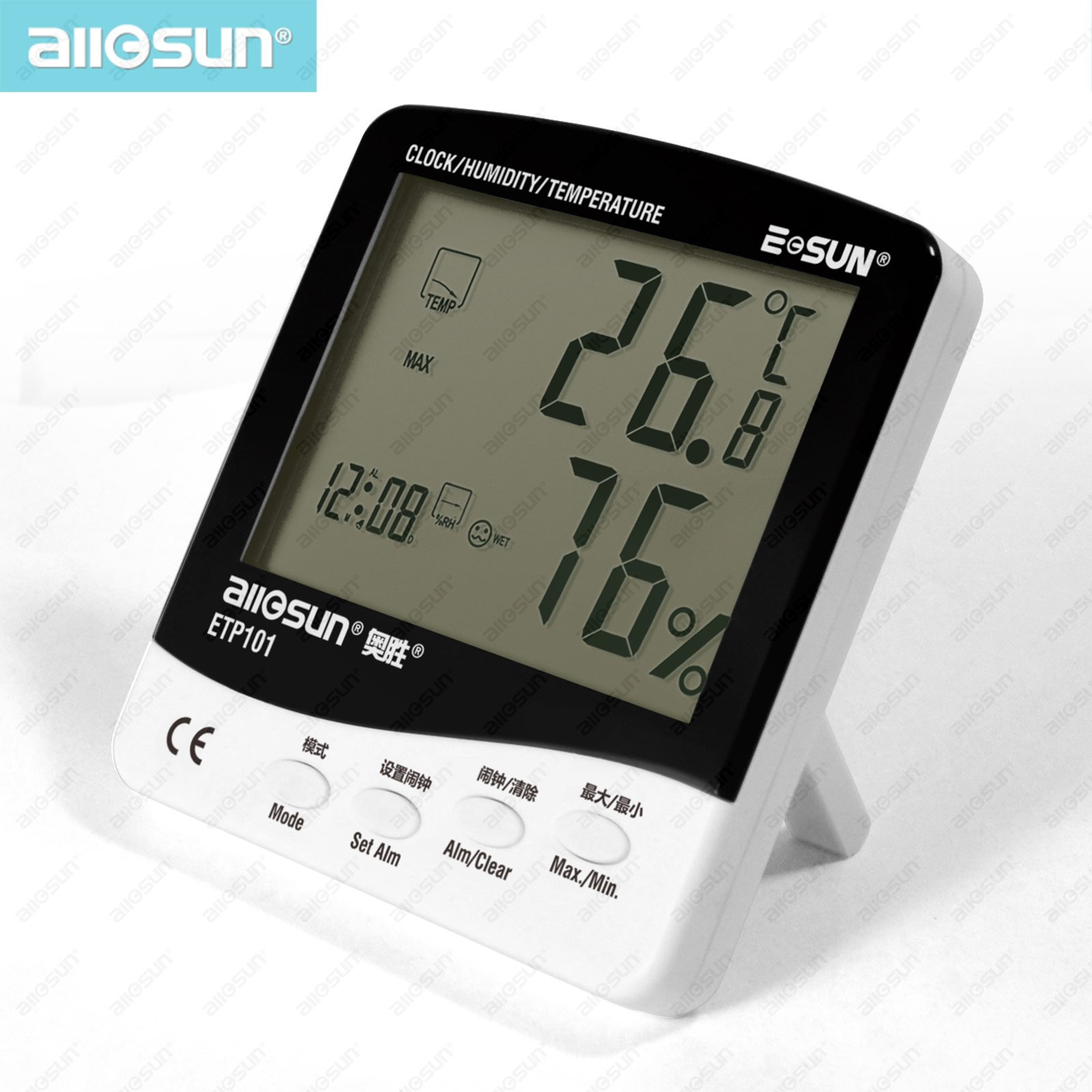 all sun ETP101 font b Digital b font Thermo hygrometer Dew point Meter with Humidity Alarm
