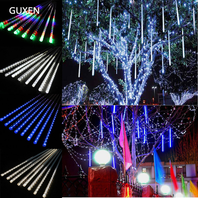 50cm 30cm 20cm led string light christmas light meteor shower falling star rain drop icicle snow