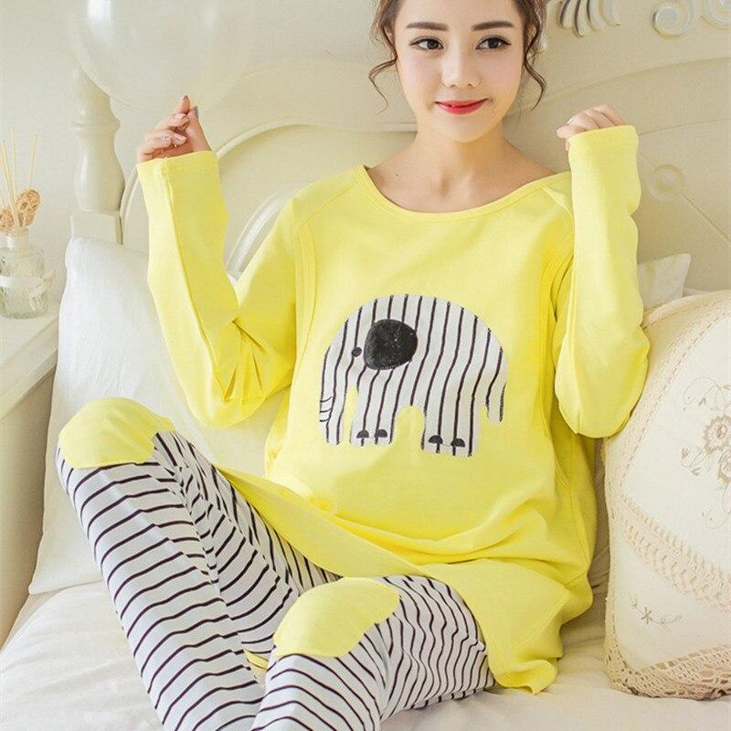 255bd3618a62 pijamas de mujer lactancia manga larga invierno embarazadas algodon camison  maternal enfermera premamá ropa pregnant de premama pijama maternal mamar  cotton ...