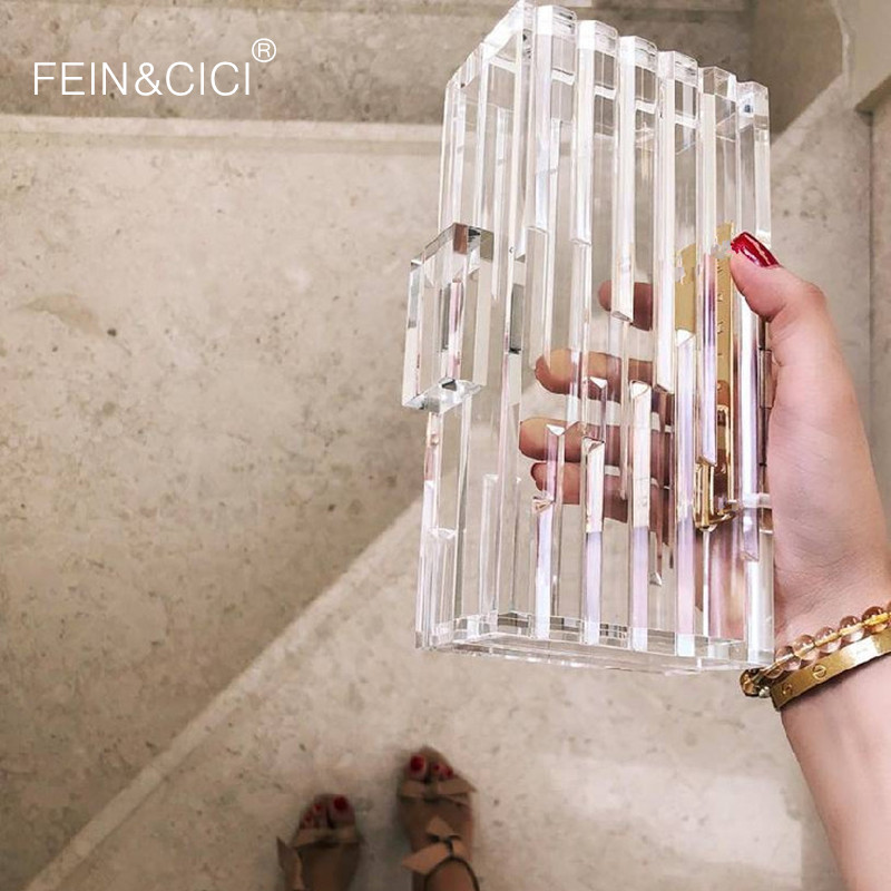 Transparent acrylique sac à main femmes transparent sac en plastique boîte sac Dubai fille vintage rétro parti sac à main 2019 nouveau sac d'été