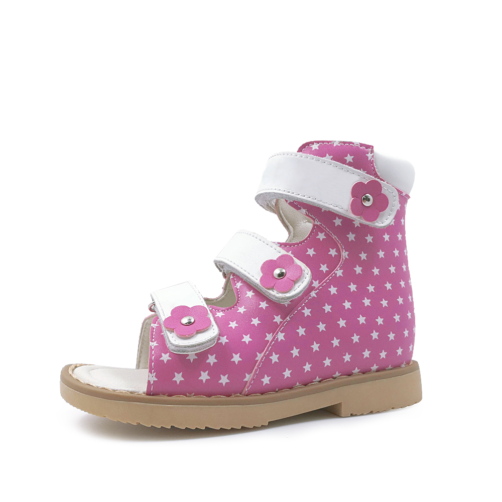 Little Toddler Girls Corrective Arch Brace Orthopedic Genuine Leather Sandals High-top Shoes with Cute Star Dot for Decoration