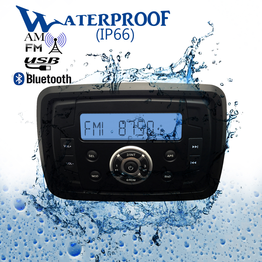 Waterproof Marine Boat Bluetooth Radio Stereo Sound System Digital Media Motorcycle Audio AM FM MP3 Player