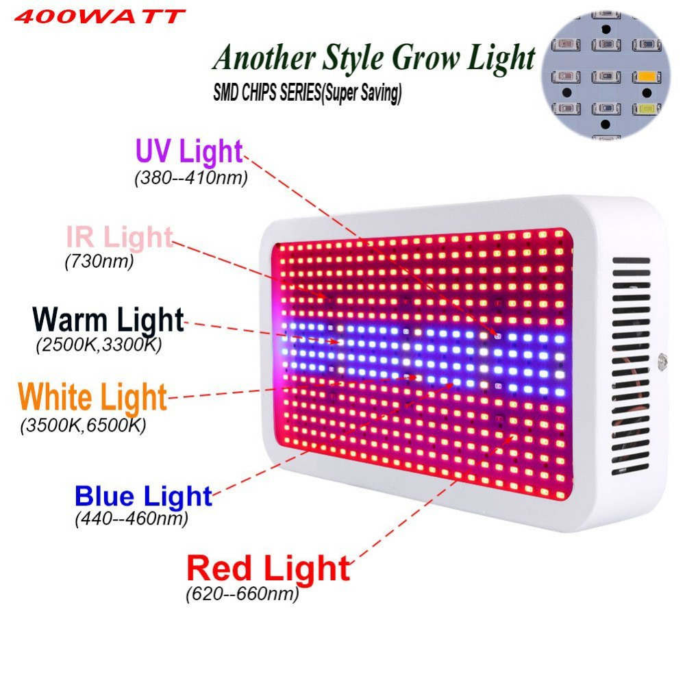 Hot 400 LEDs Grow Lights Full Spectrum 400W AC85-265V Indoor Plant Lamp For Plants Vegs Hydroponics System Grow/Bloom Flowering