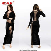 TYM-20 1/6 Scale Sexy Girl Female Clothes Accessory Black Dress Clothes Long Shirt for 12 Big Breast Woman Figure Body 1 6 scale woman dress zy toys zy5024 maid suit sexy female clothes set suitable for ph big breast action figures body