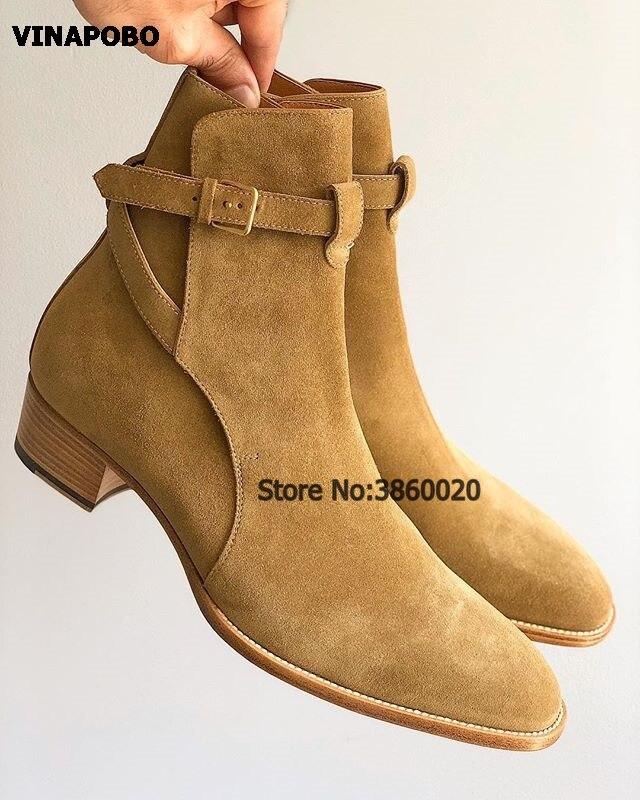 새로운 패션 브라운 스웨이드 정품 가죽 하네스 카우보이 남성 부츠 지적 발가락 버클 발목 부츠 남자 첼시 부츠 가을 겨울-에서겨울 부츠부터 신발 의  그룹 1