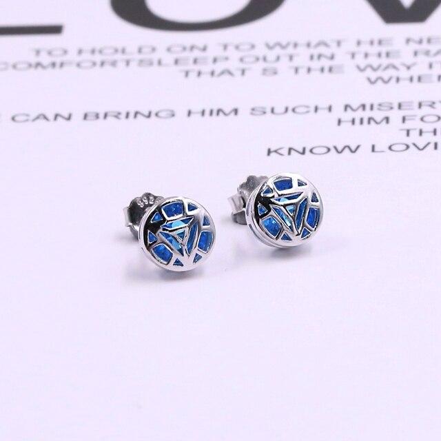 2019 Movie Avengers Jewelry Iron Man Earring 925 Silver Tony Stark Stud Earrings Men Ear Ring 1 Pair Sale