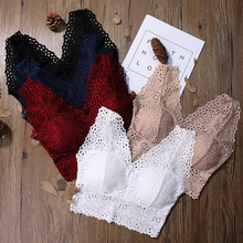 цена на Sexy Lace Crop Top Big Size 3/4 Cup Women Floral Lace Padded Tank Top V Neck Underwear Bralett Ladies Camisole