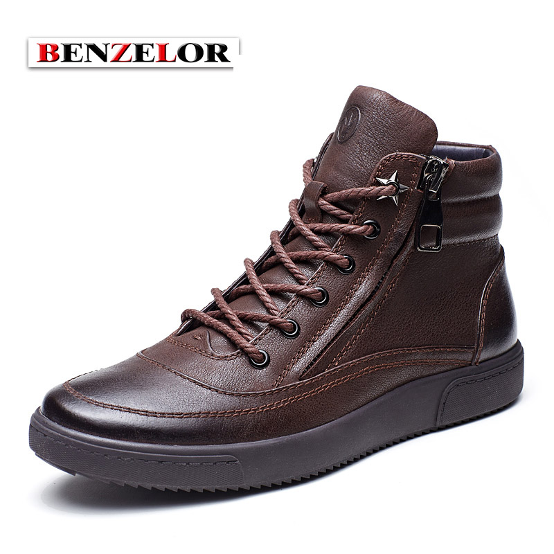 BENZELOR Men Shoes 2017 Spring Autumn Genuine leather Casual Boots Men Top Quality Brand Zipper opening SDX4248