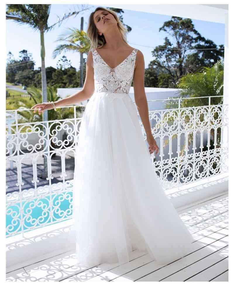 Свадебное платье в стиле бохо 2019 с аппликацией длиной в Пол элегантное платье с фатиновой юбкой трапециевидного силуэта пикантное пляжное с открытой спиной; обувь под свадебное платье для невесты сексуальное свадебное платье Casamento