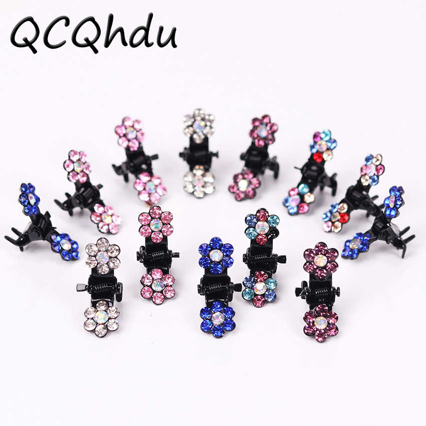 12PCS/1Set Fashion Women Hairpins Crystal Flower Mini Barrettes Gift for Kids Hair Claw Lovely Clip Girls Hair Accessories