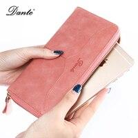 DANTE Genuine Leather Ladies Women Wallets Multi Credit Card Holder Long Wallet Women Luxury Brand Female